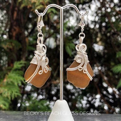 Silver Wire Wrapped Brown Sea Glass Earrings