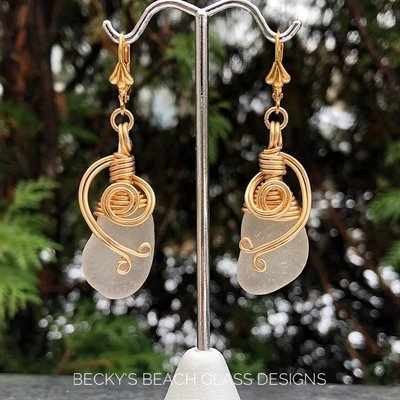 Gold & White Sea Glass Earrings