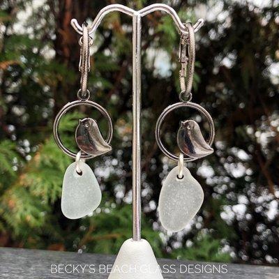 Bird Perch Hoop Sea Glass Earrings