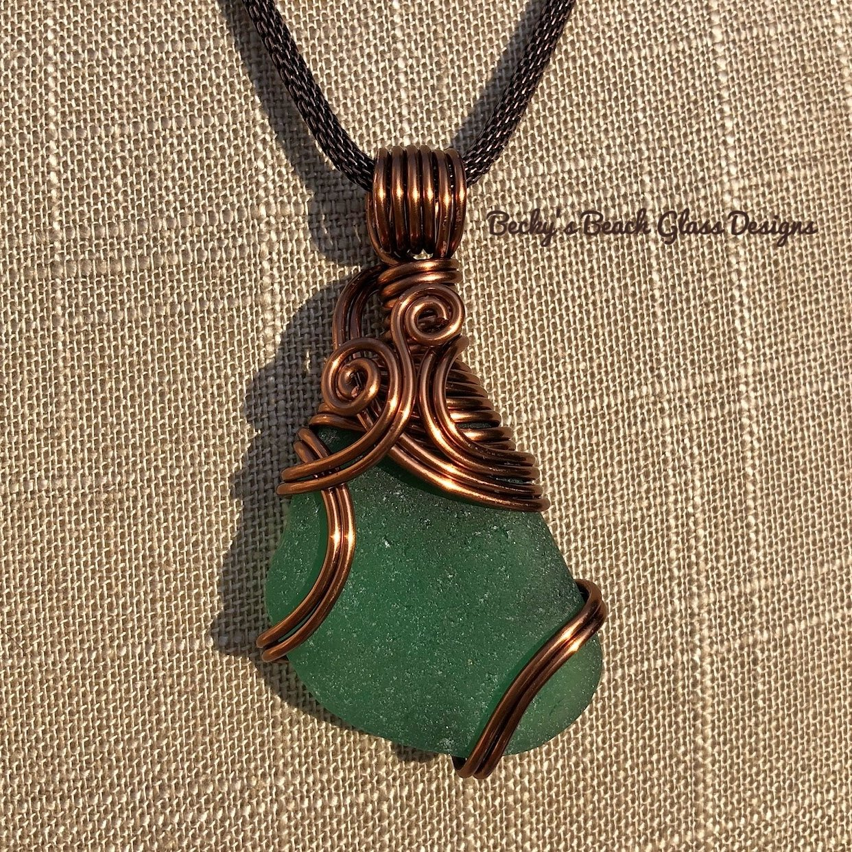 Jade Sea Glass Pendant Necklace