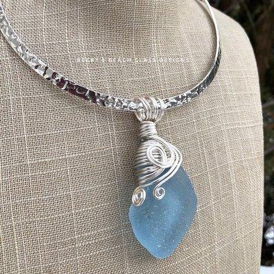 Statement Sized Light Blue Sea Glass Necklace
