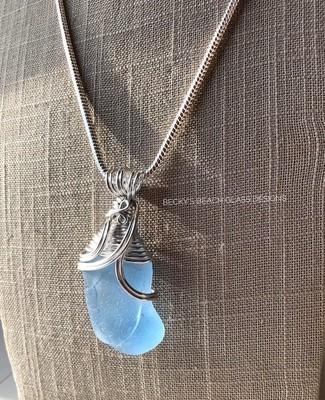 Large, Crackled Light Blue Sea Glass Necklace