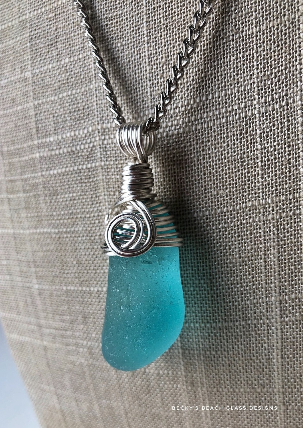 Deep Turquoise Sea Glass Necklace