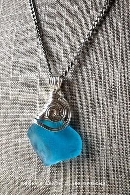 Perfectly Imperfect Bright Aqua Blue Sea Glass Necklace