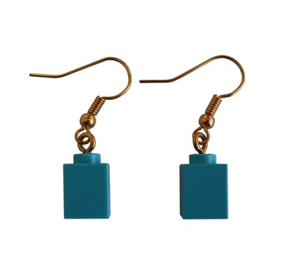 Turquoise Blue LEGO® brick 1x1 on a Gold plated dangle (hook)