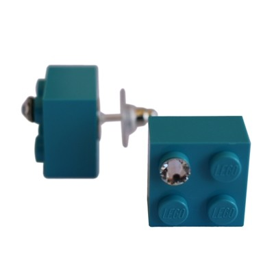 Turquoise Blue LEGO® brick 2x2 with a 'Diamond' color SWAROVSKI® crystal on a Silver plated stud/silicone back stopper