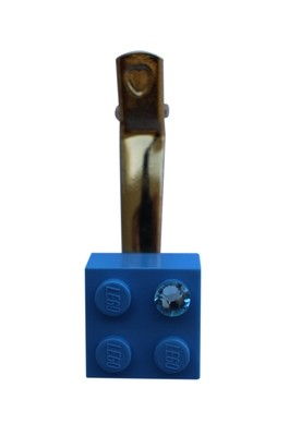 Turquoise Blue LEGO® brick 2x2 with a Blue SWAROVSKI® crystal on a Gold plated hair clip (one piece)