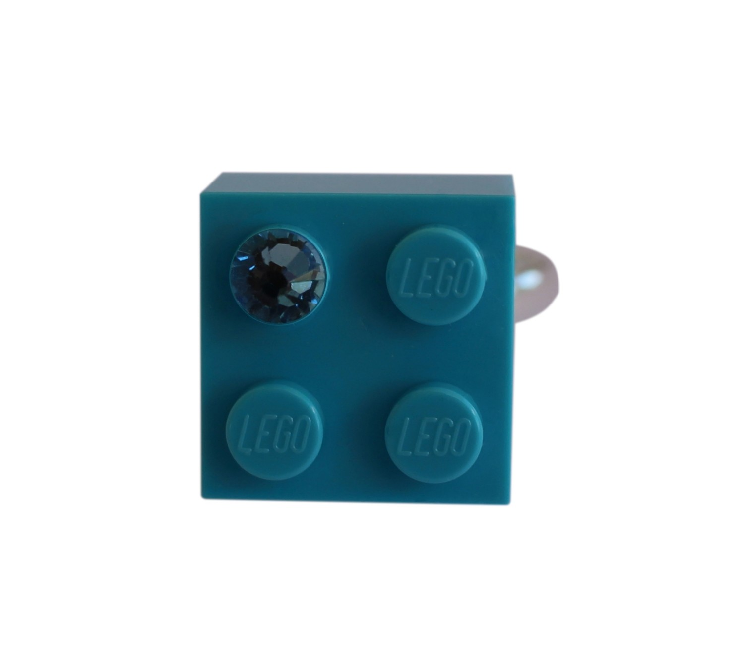 ​Turquoise Blue LEGO® brick 2x2 with a Blue SWAROVSKI® crystal on a Silver plated adjustable ring ​finding