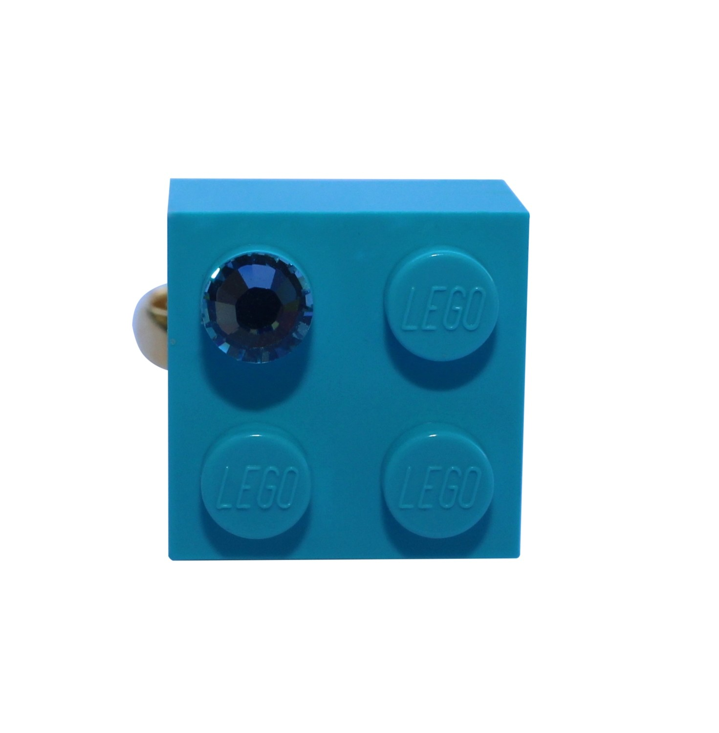 Turquoise Blue LEGO® brick 2x2 with a Blue SWAROVSKI® crystal on a Gold plated adjustable ring finding​