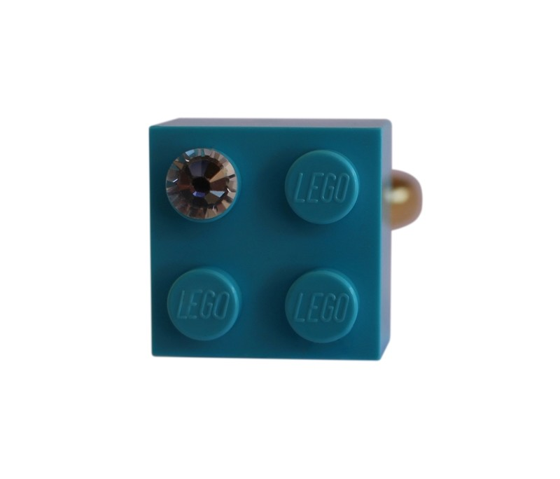 ​Turquoise Blue LEGO® brick 2x2 with a 'Diamond' color SWAROVSKI® crystal on a Gold plated adjustable ring finding