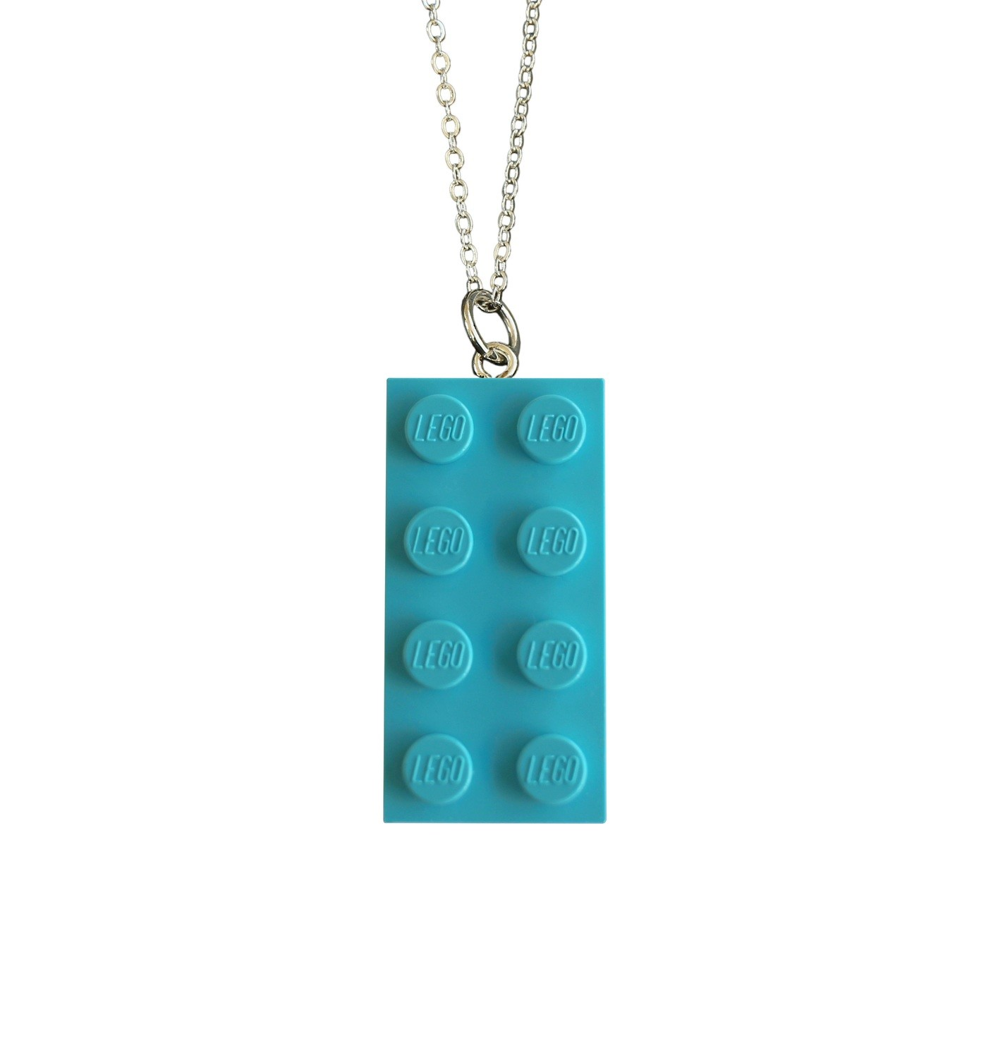"​Turquoise Blue LEGO® brick 2x4 on a Silver plated trace chain (18"" or 24"")"