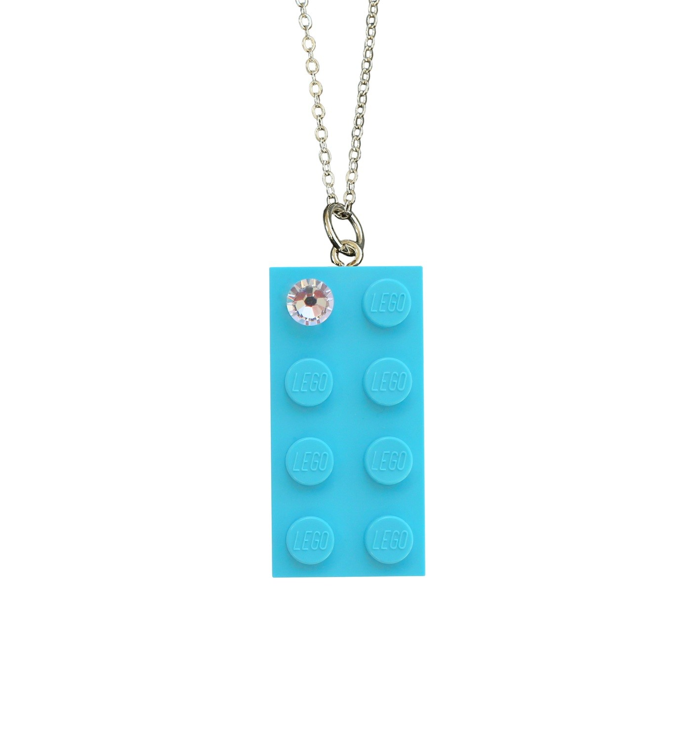 "​Turquoise Blue LEGO® brick 2x4 with a 'Diamond' color SWAROVSKI® crystal on a Silver plated trace chain (18"" or 24"")"
