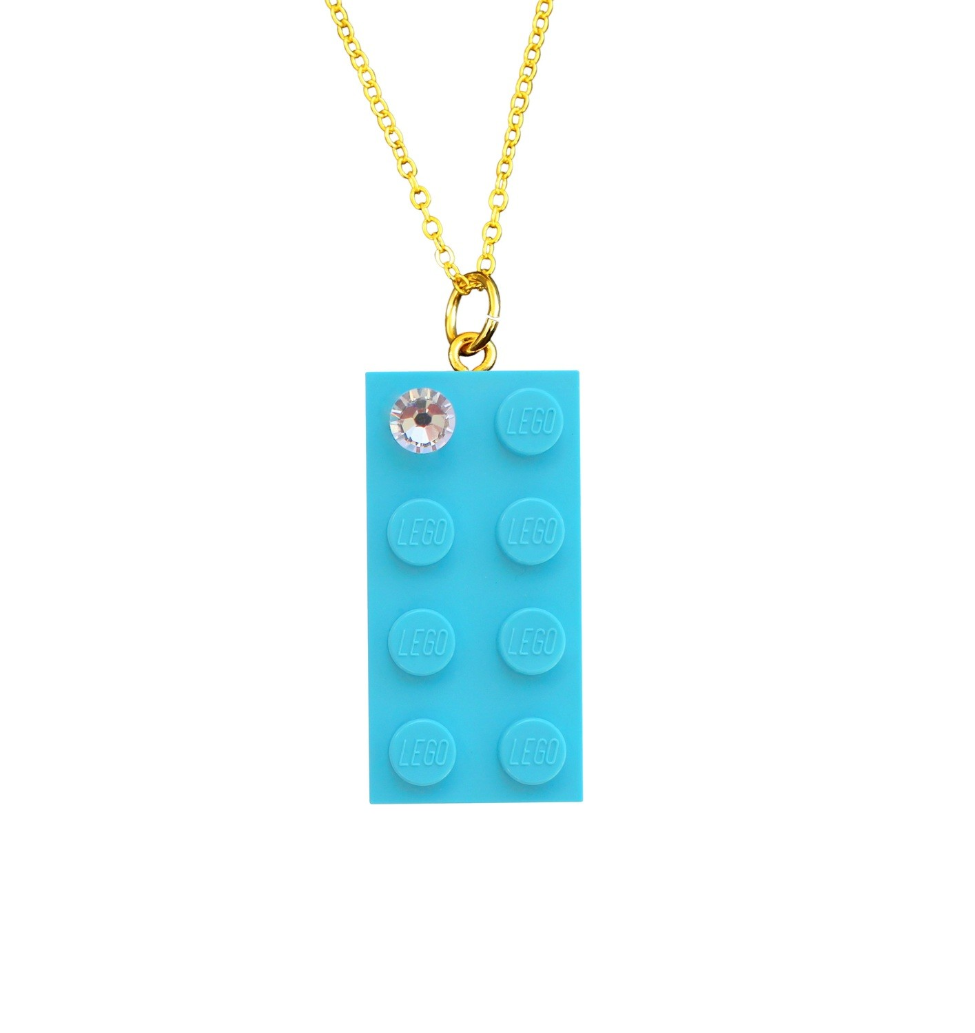 "Turquoise Blue LEGO® brick 2x4 with a 'Diamond' color SWAROVSKI® crystal on a Gold plated trace chain (18"" or 24"")"
