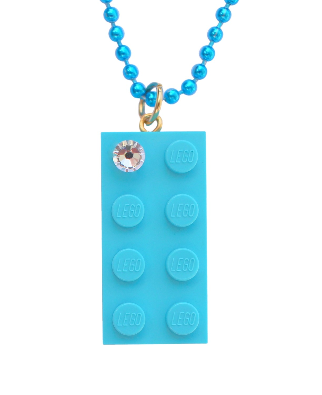 "Turquoise Blue LEGO® brick 2x4 with a 'Diamond' color ​SWAROVSKI® crystal on a 24"" Blue ballchain"