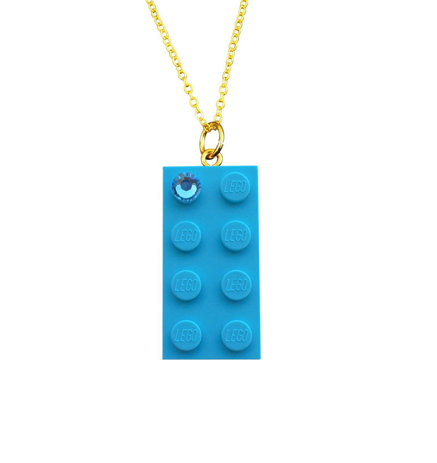 "Turquoise Blue LEGO® brick 2x4 with a Blue SWAROVSKI® crystal on a Gold plated trace chain (18"" or 24"")"