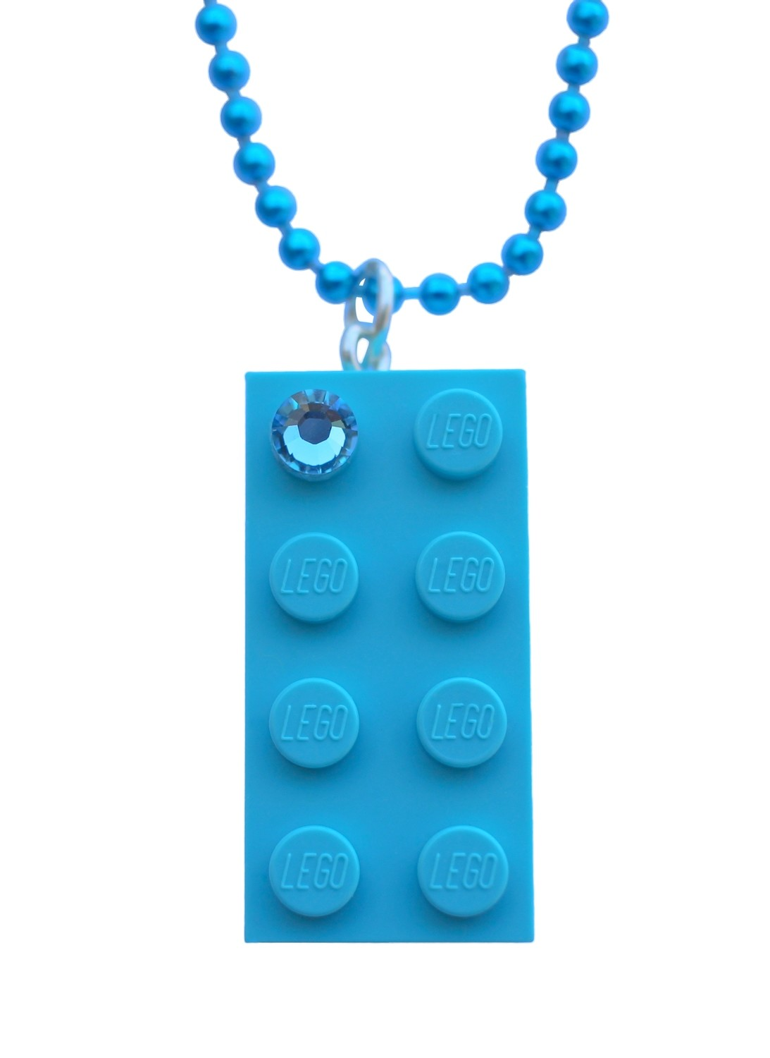 "Turquoise Blue LEGO® brick 2x4 with a Blue SWAROVSKI® crystal on a 24"" Blue ballchain"