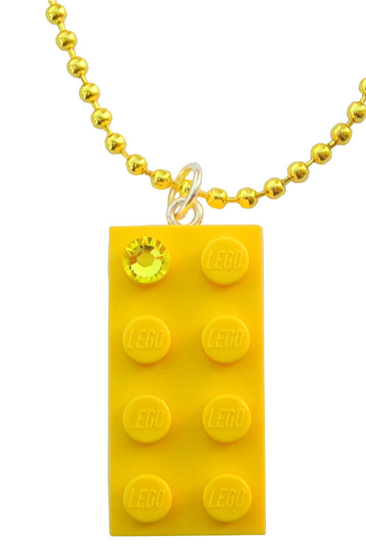 "Yellow LEGO® brick 2x4 with a Yellow SWAROVSKI® crystal on a 24"" Yellow ballchain"