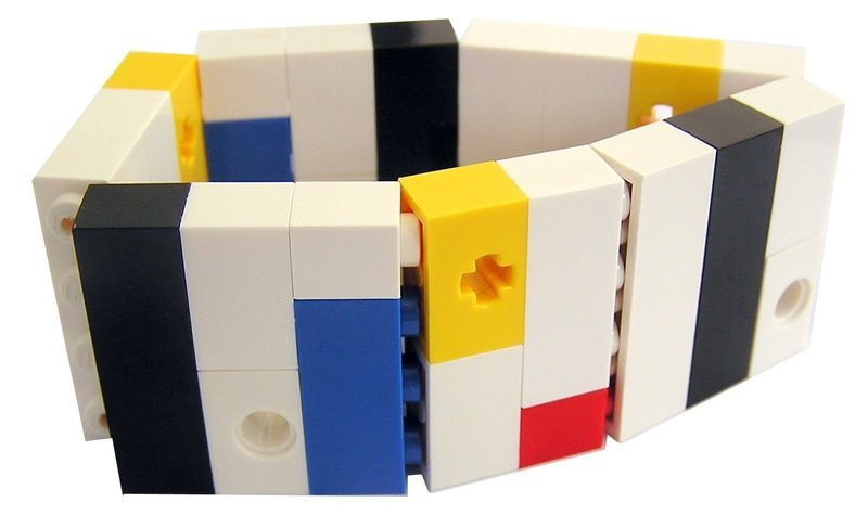 ​Collectible bracelet Model 5 - made from LEGO® bricks on stretchy cords - MONDRIAN