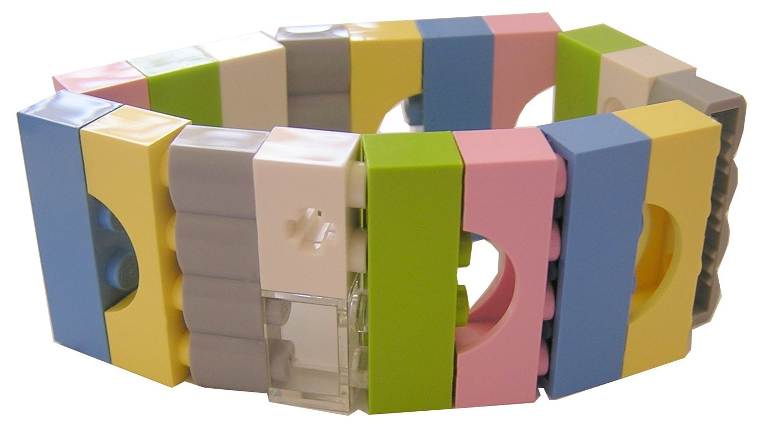Collectible bracelet Model 6 - made from LEGO® bricks on stretchy cords - KAWAII PASTEL