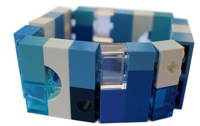 ​Collectible bracelet Model 9 - made from LEGO® bricks on stretchy cords - NAVY
