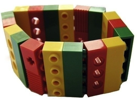 Collectible bracelet Model 3 - made from LEGO® bricks on stretchy cords - REGGAE