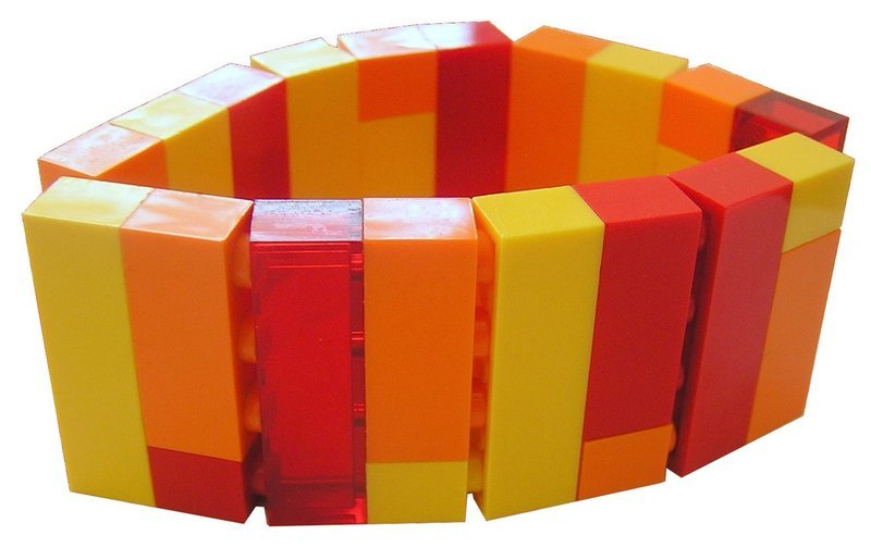 ​Collectible bracelet Model 2 - made from LEGO® bricks on stretchy cords - FIRE