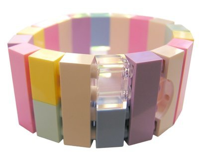 ​Collectible bracelet Model 21 - made from LEGO® bricks on stretchy cords - KAWAII PASTEL