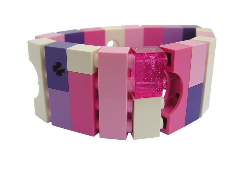 Collectible bracelet Model 20 - made from LEGO® bricks on stretchy cords - KAWAII PINK & PURPLE