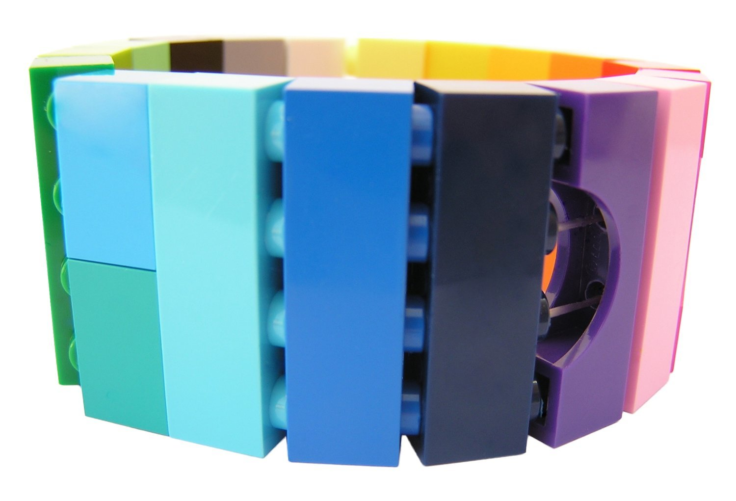 Collectible bracelet Model 19 - made from LEGO® bricks on stretchy cords - COLORFUL
