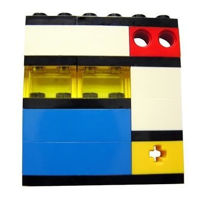 Collectible brooch pin Model 1 - made from LEGO® bricks - MONDRIAN