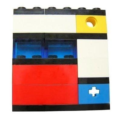 Collectible brooch pin Model 2 - made from LEGO® bricks - MONDRIAN