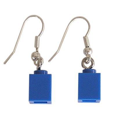 Dark Blue LEGO® brick 1x1 on a Silver plated dangle (hook)