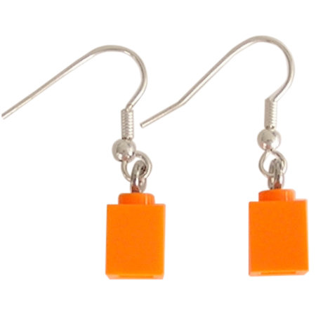 Orange LEGO® brick 1x1 on a Silver plated dangle (hook)