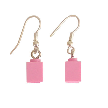 Light Pink LEGO®​ brick 1x1 on a Silver plated dangle (hook)