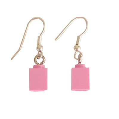 Light Pink LEGO® brick 1x1 on a Silver plated dangle (hook)