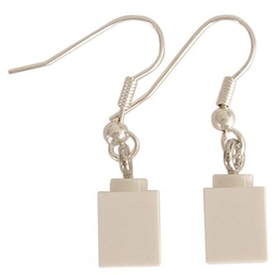 White LEGO® brick 1x1 on a Silver plated dangle (hook)