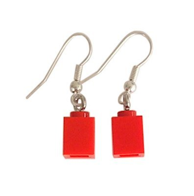 Red LEGO® brick 1x1 on a Silver plated dangle (hook)