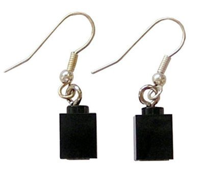 Black LEGO® brick 1x1 on a Silver plated dangle (hook)