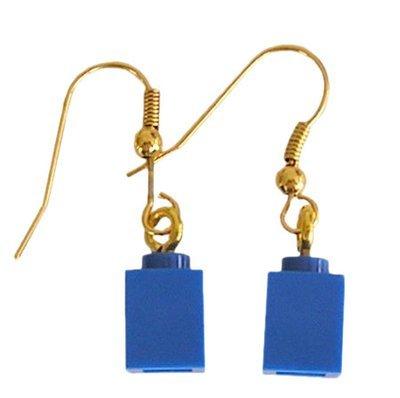 Dark Blue LEGO® brick 1x1 on a Gold plated dangle (hook)