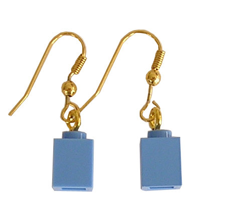 Light Blue LEGO®​​​ brick 1x1 on a Gold plated dangle (hook)