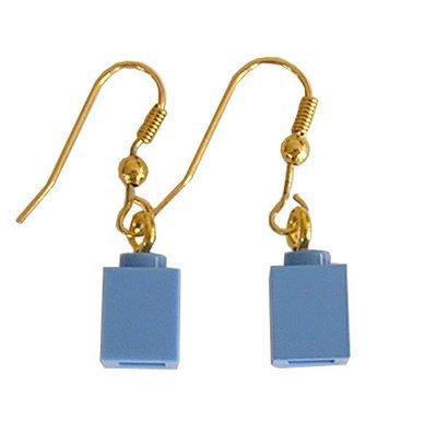 Light Blue LEGO® brick 1x1 on a Gold plated dangle (hook)