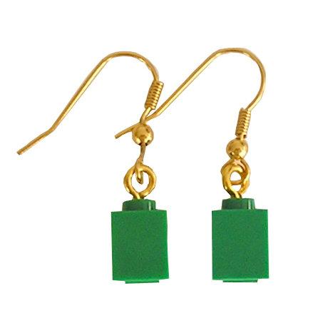 Dark Green LEGO® brick 1x1 on a Gold plated dangle (hook)