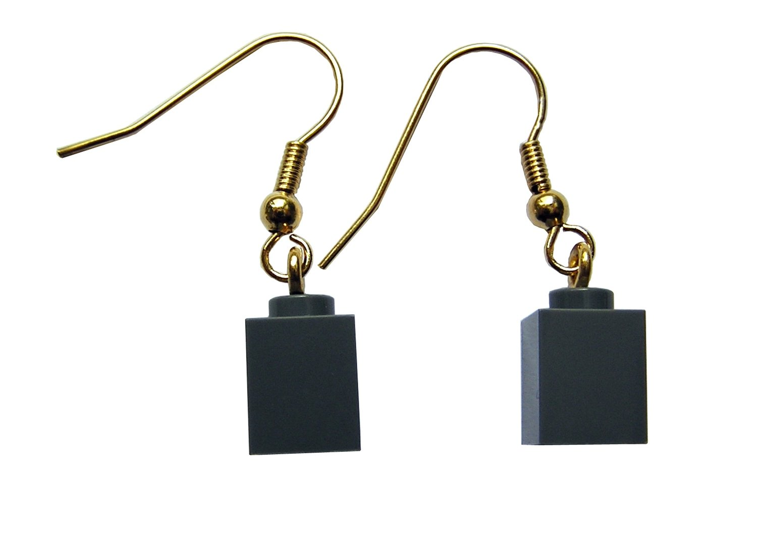 Gray LEGO® brick 1x1 on a Gold plated dangle (hook)