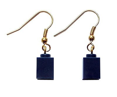 Navy Blue LEGO® brick 1x1 on a Gold plated dangle (hook)