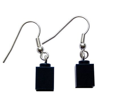 Navy Blue LEGO® brick 1x1 on a Silver plated dangle (hook)