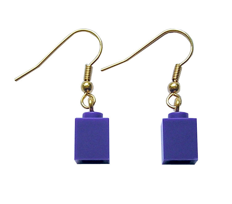 Purple LEGO® brick 1x1 on a Gold plated dangle (hook)
