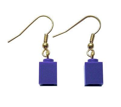 Purple LEGO® brick 1x1 on a Gold plated dangle (hook)