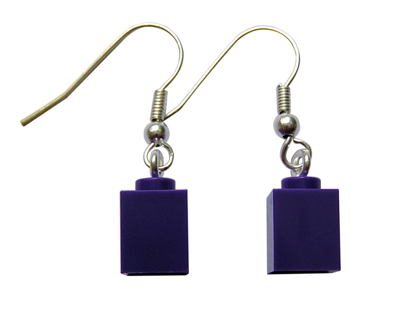 Purple LEGO® brick 1x1 on a Silver plated dangle (hook)