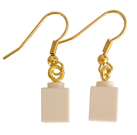 White LEGO® brick 1x1 on a Gold plated dangle (hook)