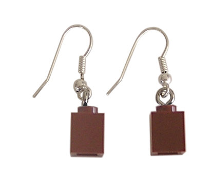 Brown LEGO® brick 1x1 on a Silver plated dangle (hook)
